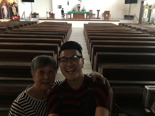 With Mom at church