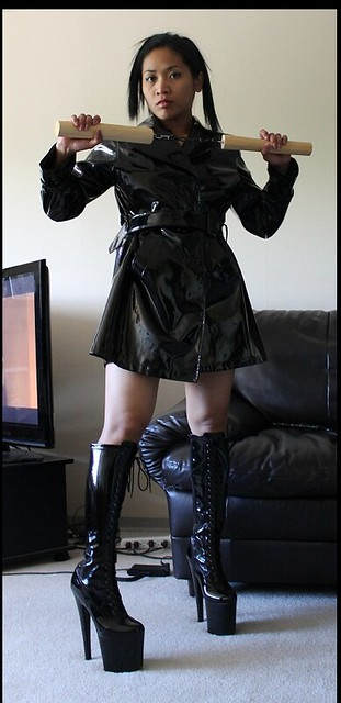 woman Leather asian boots fetish