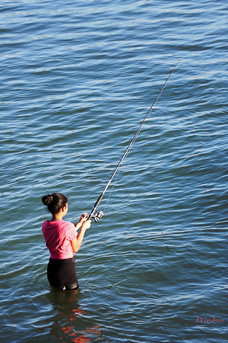 Fishing girl fishing in johns pass in mitchell beach for Johns pass fishing