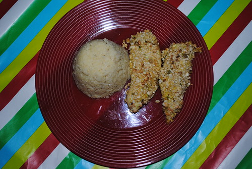 Cashew-Pistachio Crusted Chicken with Herbed Couscous (1)