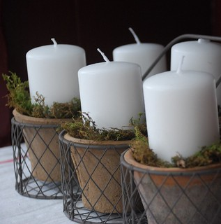 Candles in Mossy Terra Cotta Pots and Wire Basket | by A Storybook Life
