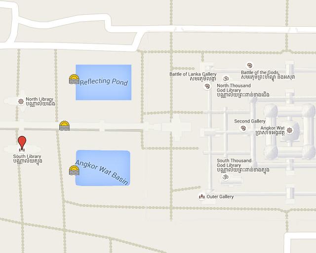 Mapa con los mejores lugares desde donde ver el amanecer de Angkor Wat