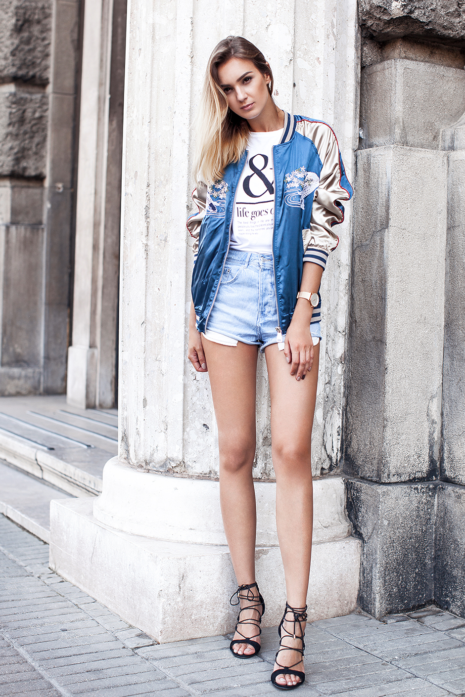 denim-cutoffs-heels-bomber-jacket-outfit-street-style