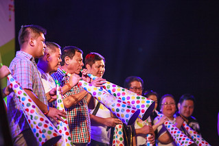 Mayor Rodrigo Duterte leading the blowing of horns during the Torotot Festival 2015 in Davao City: | by Jeff Pioquinto, SJ