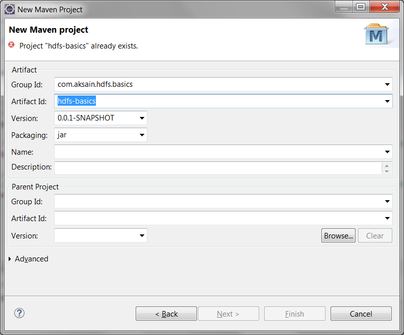 HDFS Basics Maven Project