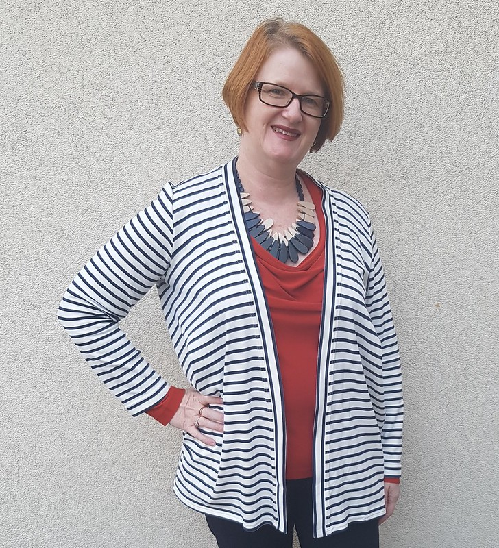 Style Arc Simone cardigan in striped ponte from Spotlight