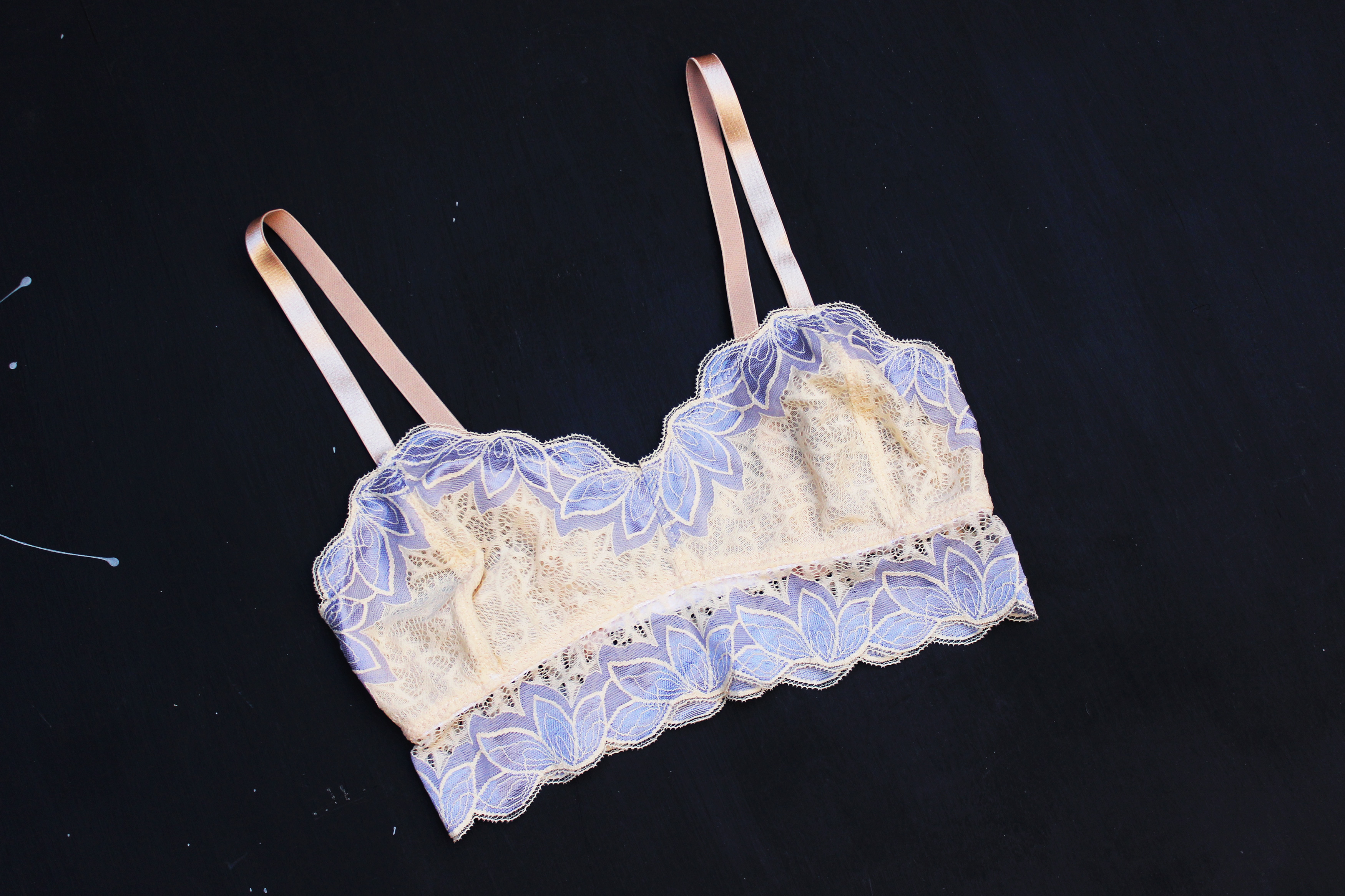 Madalynne x Simplicity 8228 View B Bralette in Lilac Yellow Evie la Luve Bella Panties Tailor Made Shop