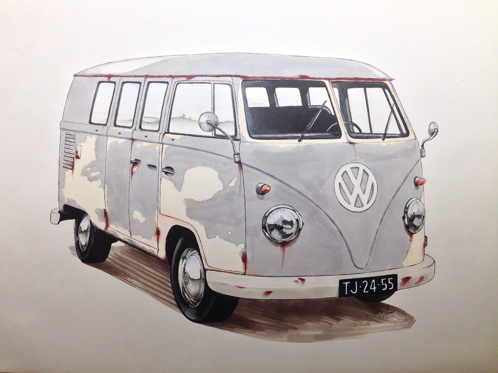 Finished A Drawing For A Friend Of Mine Of A Vw T1 Van In