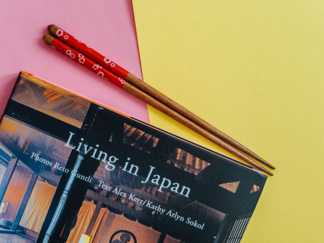 chopsticks and 'living in japan' book
