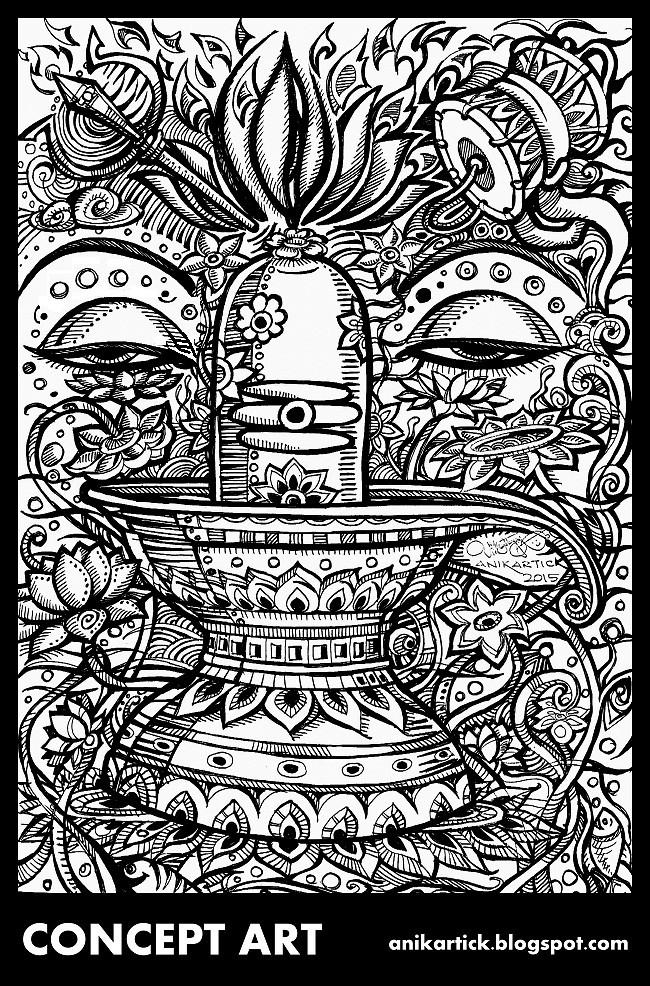 Lord Shiva Drawing Sketch Doodles Illustration C