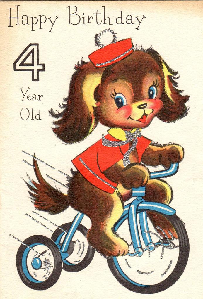 Vintage Birthday Card 4 Year Old