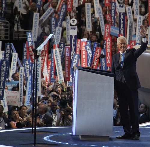 Former President Bill Clinton speaking at the DNC last night
