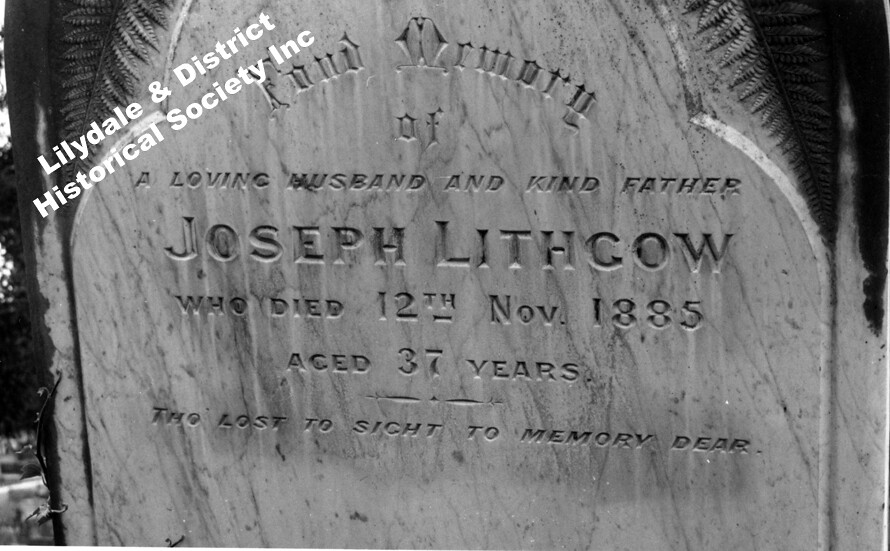 10163 Headstone At Lilydale Cemetery Of Joseph Lithgow P1