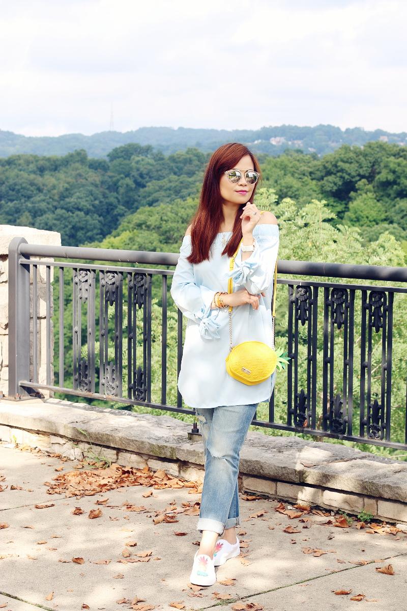 zaful-off-shoulder-top-cropped-jeans-pineapple-bag-2