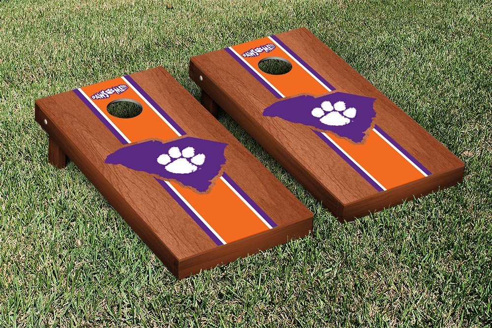 Clemson Tigers Cornhole Game Rosewood Stained Stripe Version