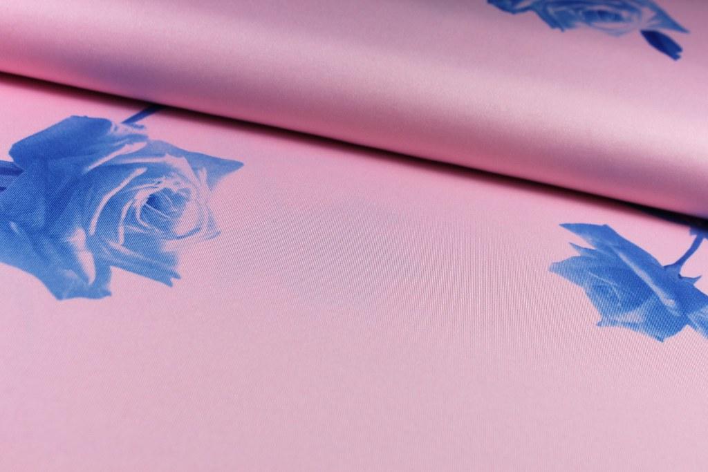 Feinjersey Rose, rosé-royalblau