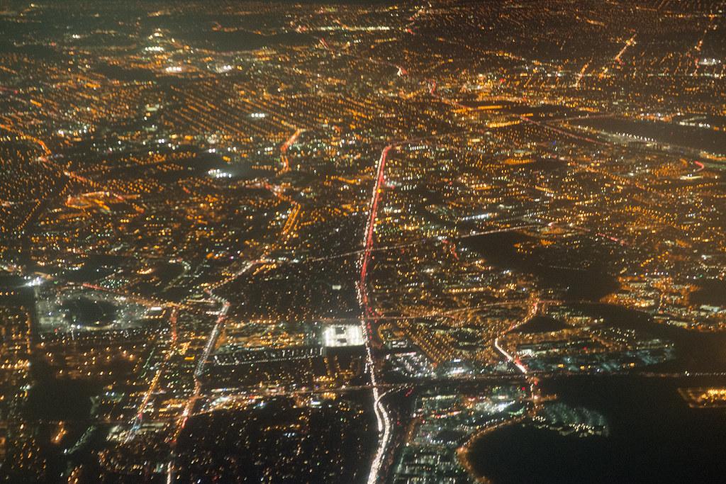 Night Aerial View Of San Jose California Aerial