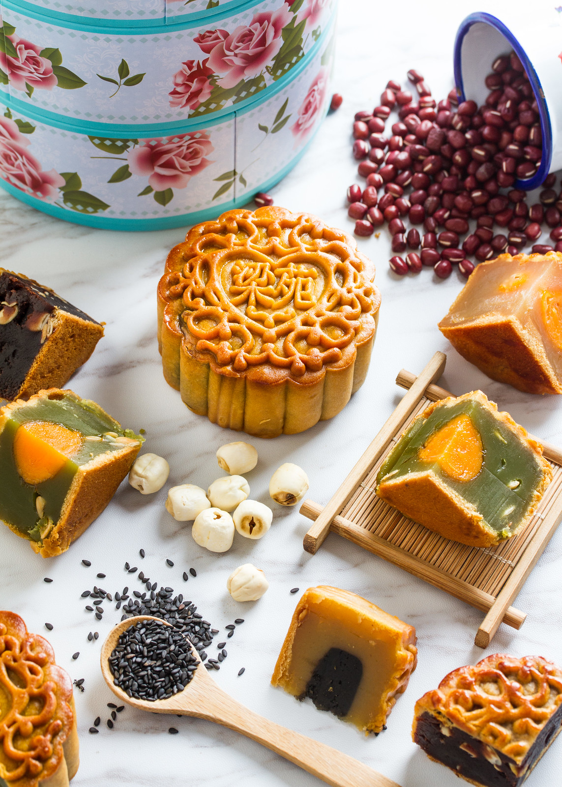 Neo Garden Catering Four Treasures set - Assorted Fruits & Nuts mooncake, Double Yolk White Lotus Seed mooncake, Fragrant Black Sesame mooncake and Single Yolk Emerald Lotus Seed mooncake.