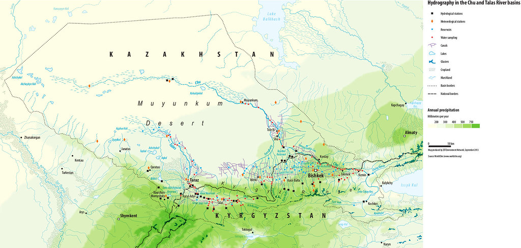 Hydrography In The Chu And Talas River Basins A Map Displa Flickr - Taraz map