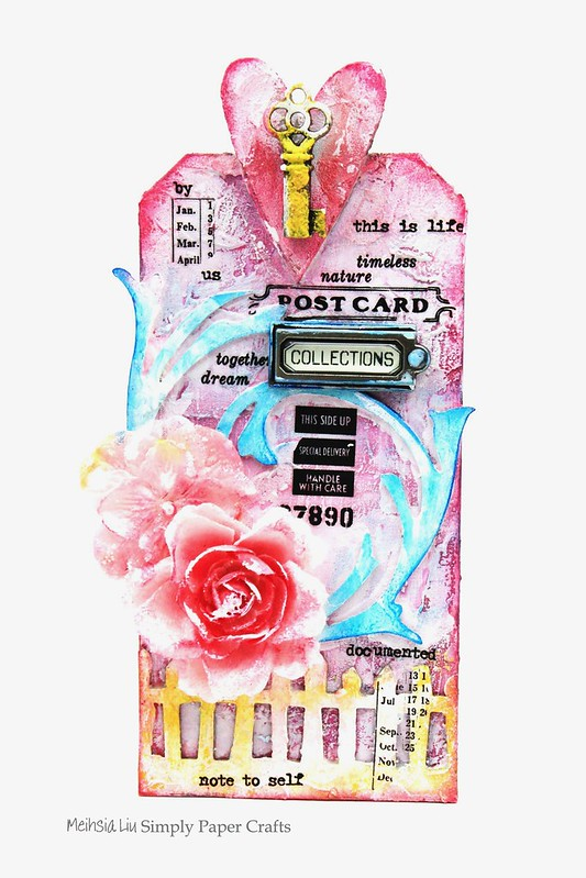 Meihsia Liu Simply paper crafts Mixed media tag texture collection Tim Holtz 11