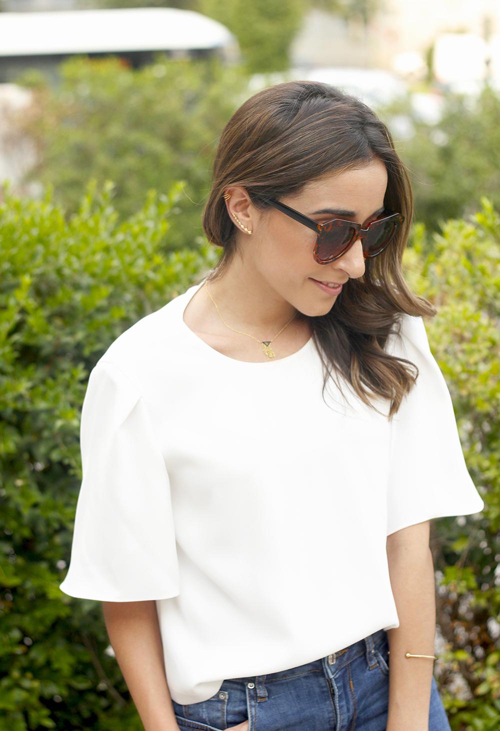 White blouse jeans earrings earcuff jewellery corte ingles joyería verano summer outfit style3