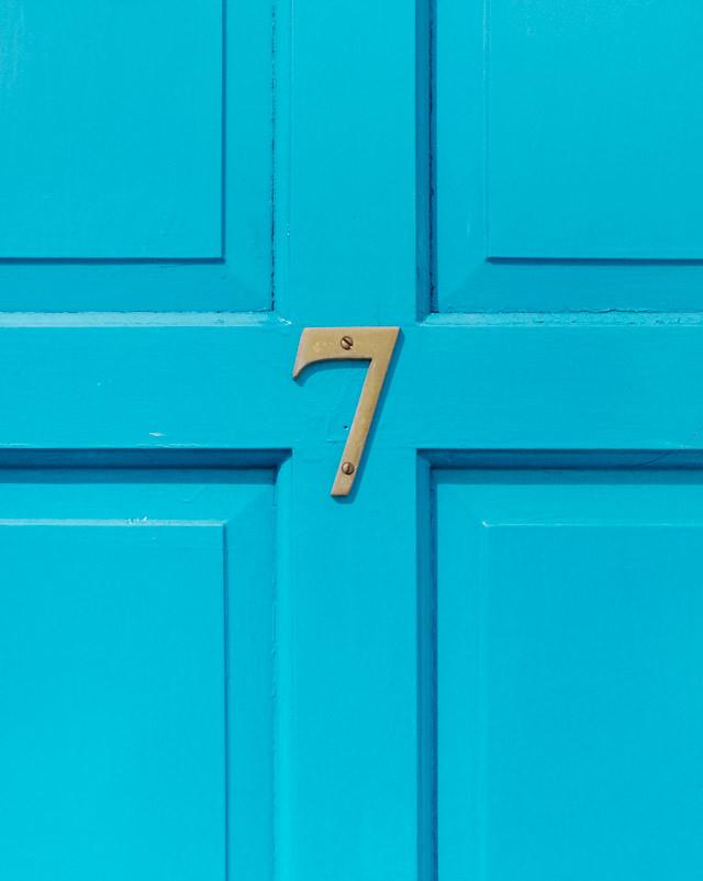 turquoise door, number 7