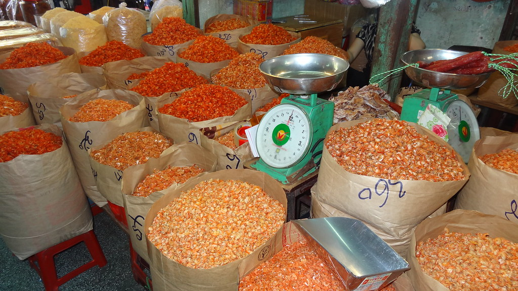 Large bags of dried shrimps