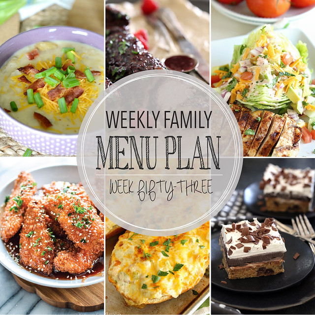 Weekly Family Menu Plan featuring 5 dinners, one breakfast, and a dessert!