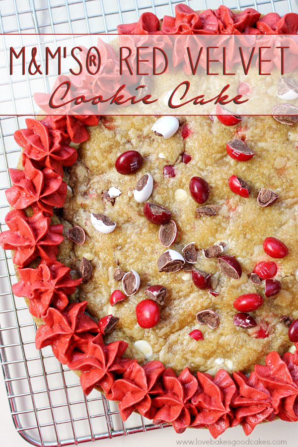 M&M's® Red Velvet Cookie Cake on a cooling rack.