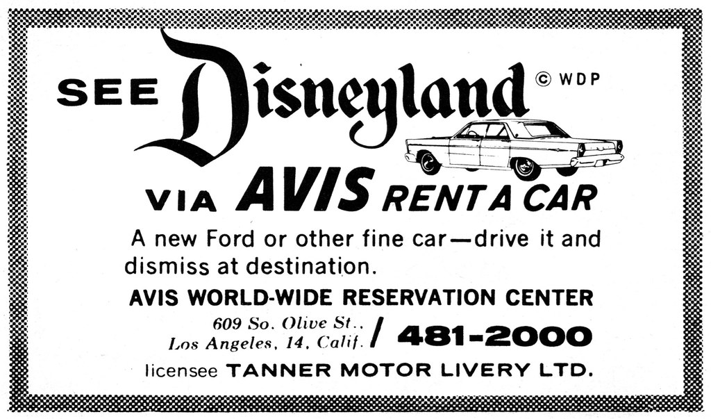 see disneyland via avis rent a car 1965 tom simpson flickr. Black Bedroom Furniture Sets. Home Design Ideas