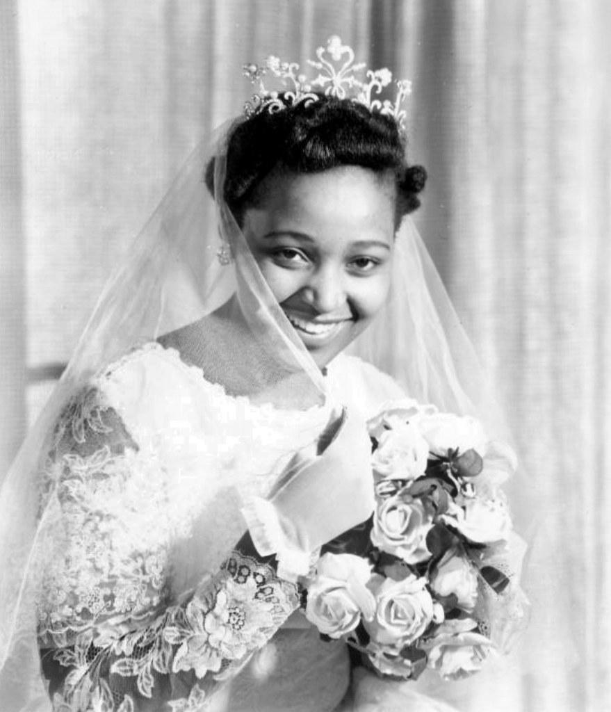 Winnie Mandela In Her Wedding Dress With Bridal Bouquet