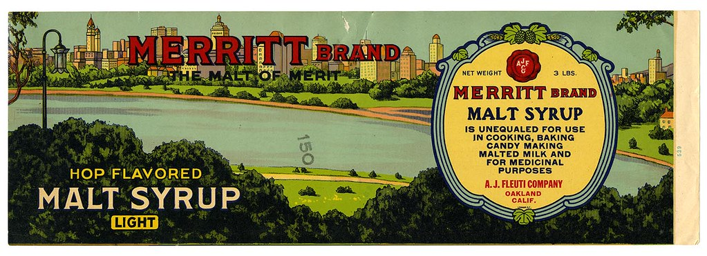 Hop flavored malt syrup label, Merritt Brand, Lehmann Printing and Lithographing Co. | by California Historical Society Digital Collection