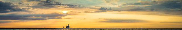 Sunrise, Sky, Lake Michigan, Kewaunee, Lighthouse, WI