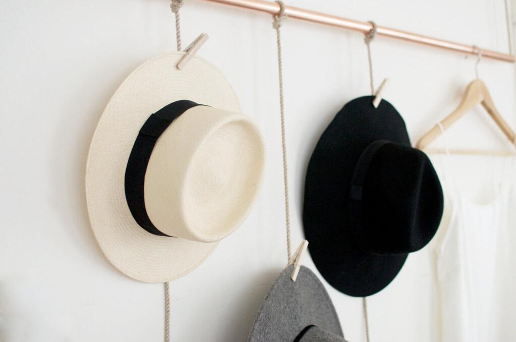 Diy hanging copper hat rack geneva vanderzeil a pair for Diy door hat rack