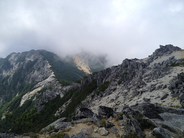 鳳凰山 鳳凰小屋分岐~薬師岳登山道 振り返り