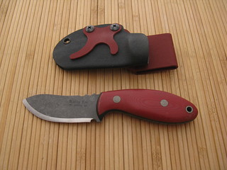UT 5495 Red Micarta Little Tuffy (front) | by randyleeknive11