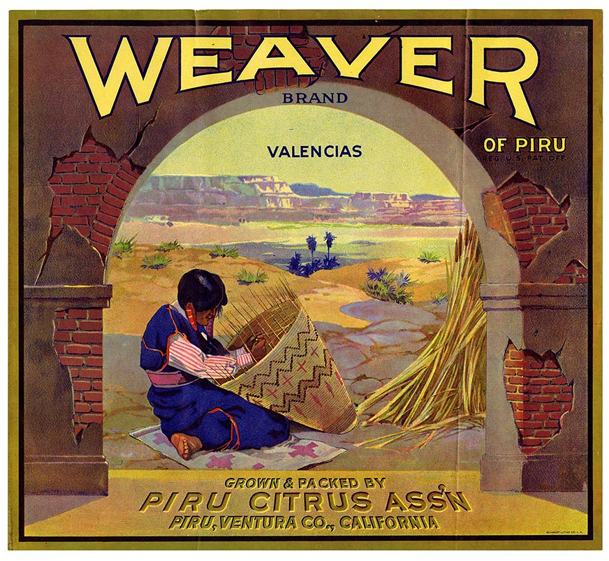 Valencias crate label, Weaver Brand of Piru, Schmidt Litho. Co . | by California Historical Society Digital Collection