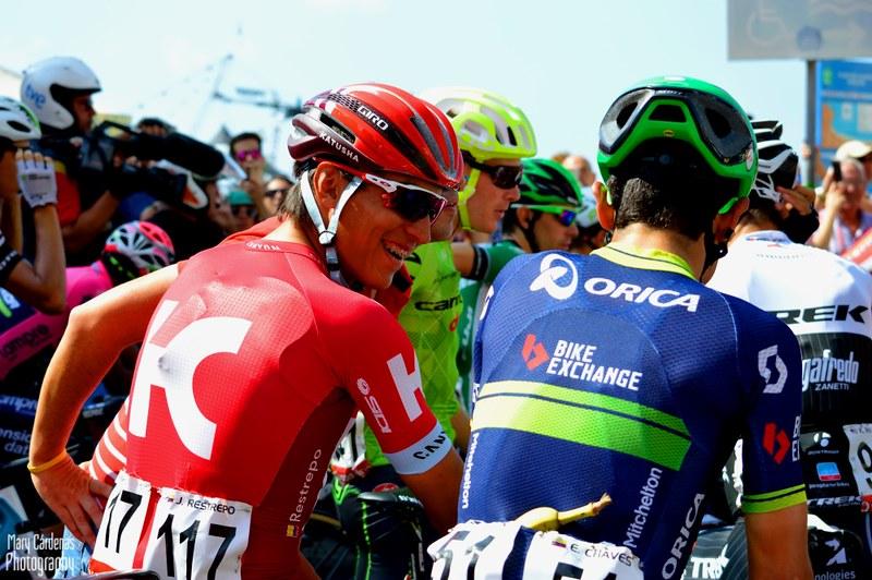 Jhonatan Restrepo (Katusha) and Esteban Chaves (Orica-BikeExchange)