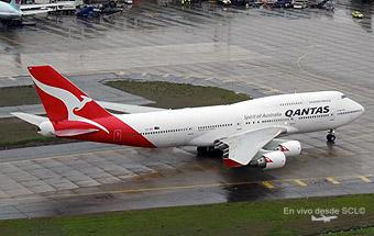 Qantas B747-400 desde SCL TWR (Rodrigo Vildósola)