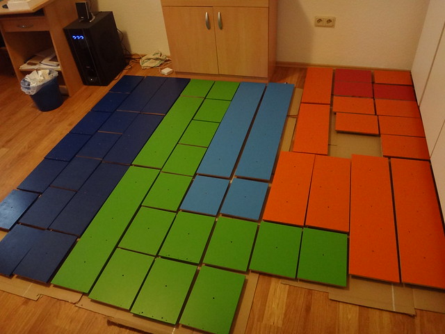 Tetris shelving, a geeky display and storage solution