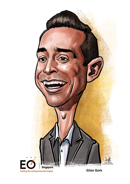 Gilan Gork digital caricature for EO Singapore