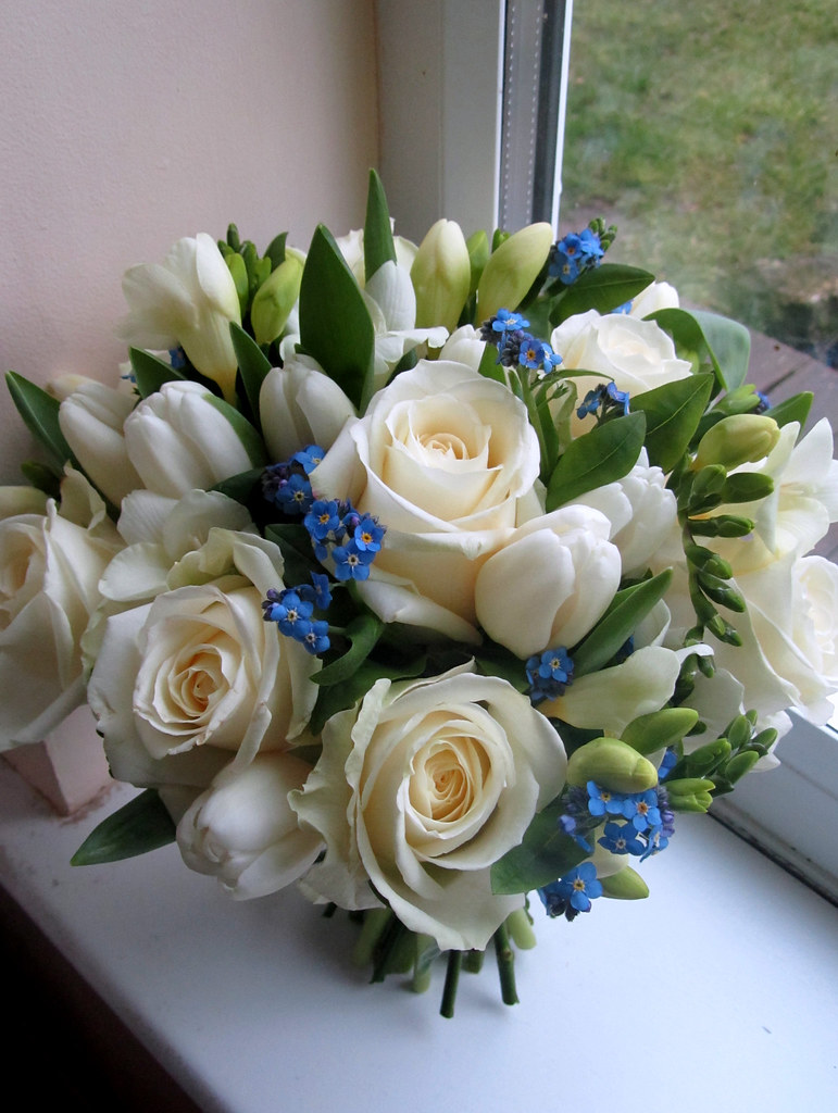 Blue and white bouquet bouquet of white roses tulips and flickr blue and white bouquet by the flowersmiths wedding flowers izmirmasajfo