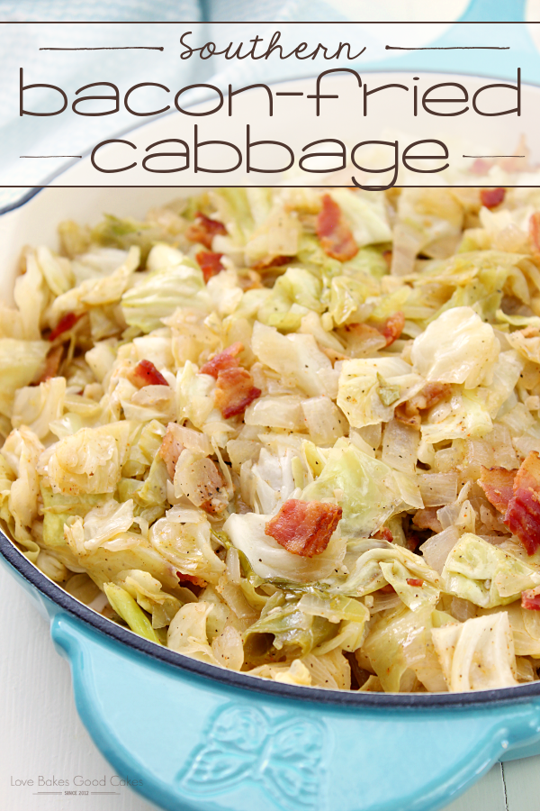 Southern Bacon-Fried Cabbage in a blue skillet.