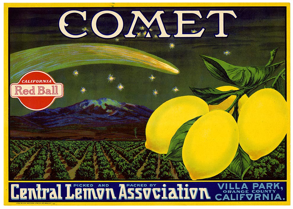 Lemon crate label, Comet brand, Western Litho. Co . | by California Historical Society Digital Collection
