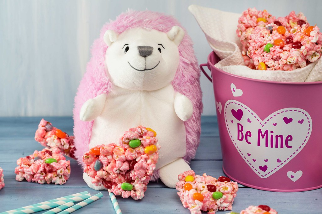 Pink Stuffed Animal Hedgehog With Popcorn And Jelly Bean M Flickr