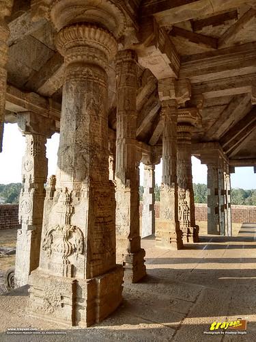 Beautifully carved pillars of Chaturmukha Basadi of Karkala, Udupi district, Karnataka, India