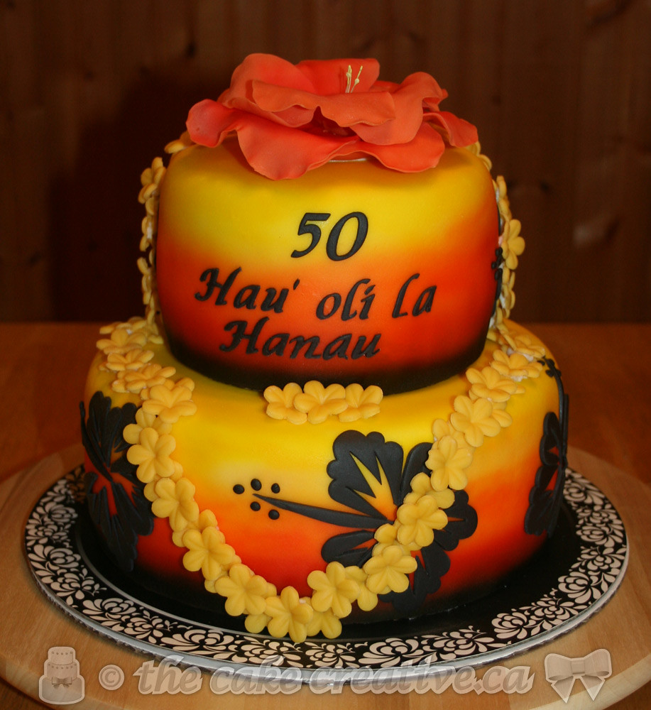 Hawaiian 50th Birthday Cake Vanilla Cake With Mango Cream Flickr