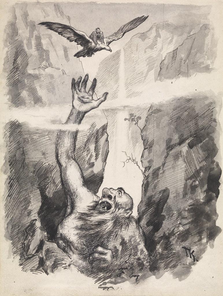 """Theodor Kittelsen - Preparatory work for """" Bonde Veirskjegg """" , P. Chr. Asbjørnsen and J. Moe, Eventyrbog for Børn . Norwegian Folkeeventyr , Copenhagen 1887"""