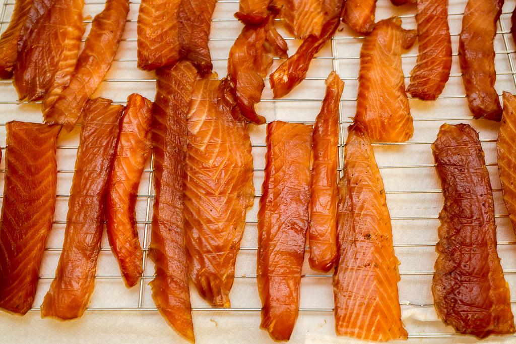 Alder wood smoked salmon jerky