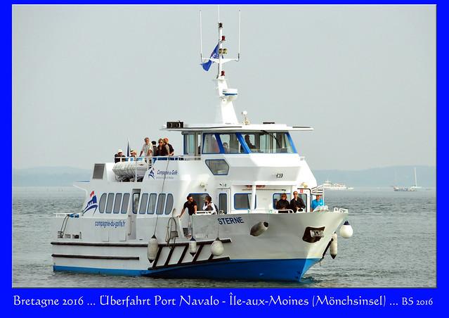 Bretagne - Golfe du Morbihan - Überfahrt Port Navalo - Mönchsinsel (Île-aux-Moines) ... Schiff, Fahrwind, Îld d'Arz ... Fotos und Collagen: Brigitte Stolle 2016